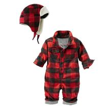 2017 New Design Christmas baby boys red plaid cotton rompers hat set cute spring baby jumpers newborn infant overalls 16N1103