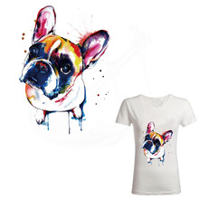 New watercolor Cute dog 26*19cm iron on patches for clothes DIY T-shirt jacket hoodie Grade-A Thermal transfer stickers(China)