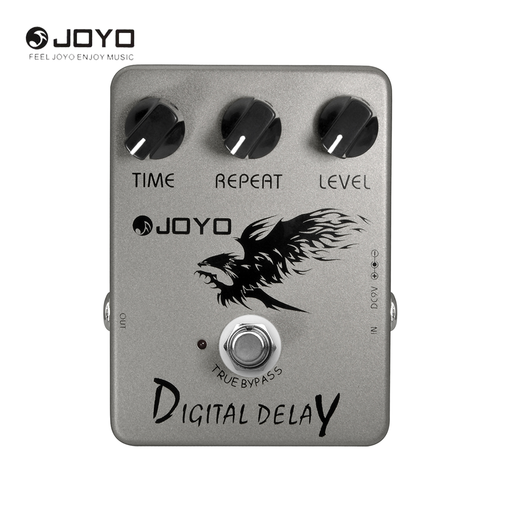 JOYO JF-08 Digital Delay Guitar Effect Pedal 25ms~ 600ms Delay Stompbox Time Repeat Level Adjustable True Bypass<br>