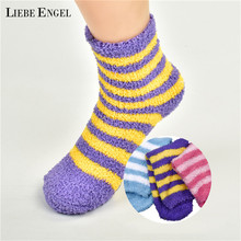 Buy LIEBE ENGEL Winter Warm Striped Coral Fleece Women' Socks Casual Soft Comfortable Thicken Home Floor Middle Tube Sock for $1.76 in AliExpress store