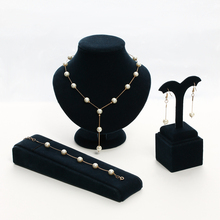 Brand New 2 Color Jewellery Sweet Elegant Women Imitation Pearl Jewelry Sets Simple Choker Necklace Bracelet Earrings