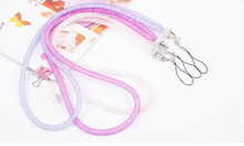 100pcs Rhinestone Crystal Lanyard ID Badge Keychain Holder For iPhone 6 6S Long Neck Chain Mobile Phone Accessories