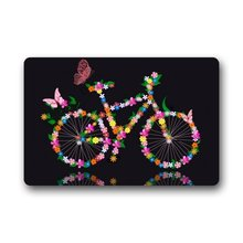 Fantastic Doormat Flower Floral Bicycle and Butterfly Bike Art Door Mat Rug Indoor/Front Door/Bathroom Mats Bedroom Doormat(China)