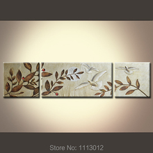 Hand Painted Modern Oil Painting Of Flowers White Bird On Canvas 3 Panel Art Set Home Wall Decoration Picture For Living Room