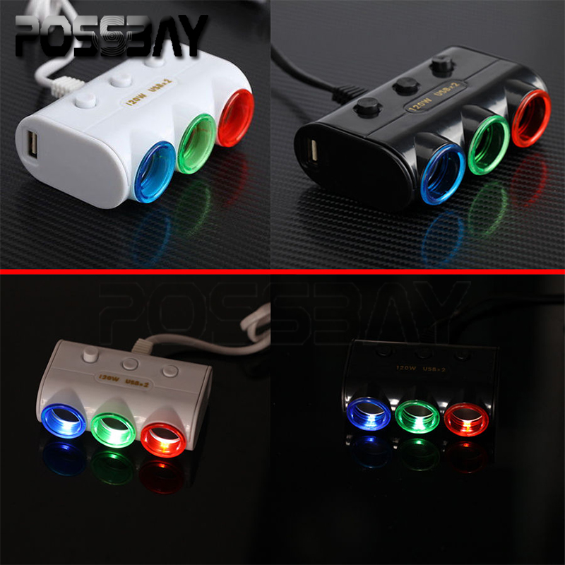 -94% OFF One Piece 3 Way Triple Led Car Cigarette Lighter Socket Splitter Charger Power Adapter 2 USB(China (Mainland))
