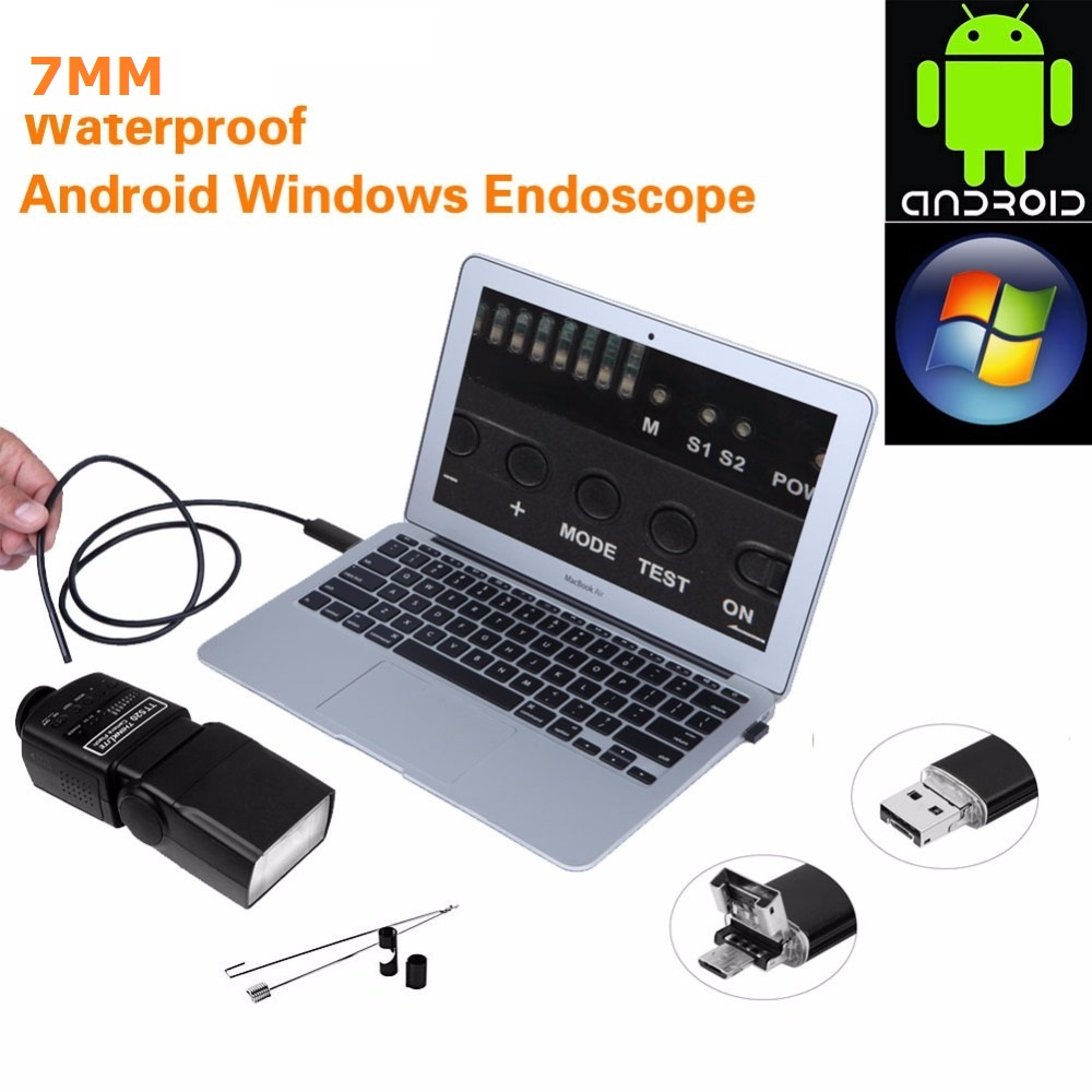 Black/Gold 2 in 1 7mm Lens 6 LED Android USB Waterproof Endoscope Camera Borescope Inspection Camera with 10m Length Cable<br><br>Aliexpress
