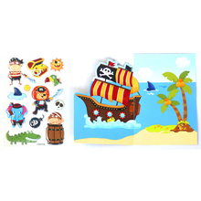 Cartoon Characters Pirate Captains Sea Poacher Robber Emoji Reward Kids Children Scrapbooking Game Crystal Stickers & Background