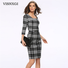 Women Office Work Dresses Autumn Black White Plaid Vestidos Female Clothes Elegant Pencil Vestido Side Zipper Square Collar S183