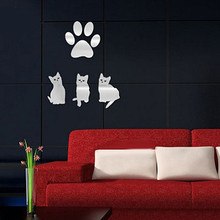 The wall sticker for living room bedroom home art decor luxury 3D mirrors cute cat and claws removable wall stickers muursticker
