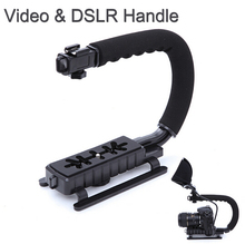 C Shape flash Bracket holder Video Handle Handheld Stabilizer Grip for DSLR SLR Camera Phone Gopro AEE Mini DV Camcorder(China)