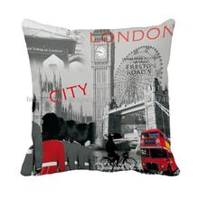 London city with bigben construction printed decorative Euro hoary grey cushion covers vintage decorative pillow case cats