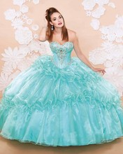 Luxury Crystal Beading Organza  Quinceanera Dresses 2017 New Sweetheart Pleat Ball Gown With Jacke Vestidos de 15Anos
