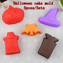 Halloween cake decorating kit Pumpkin Grave Haunted House Bat Witch Hat 5pcs/Sets silicone cake pop mold free shipping(China)