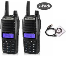2pcs baofeng UV-82 walkie talkie VHF UHF dual PTT high low power 2800mAh battery long distance radios for hunting with cable(China)