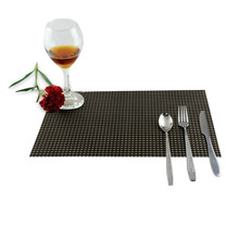 Square PVC Placemat Home Table Waterproof Heat Insulation Tableware Cup Mat Weave Slip-resistant Pad  TB