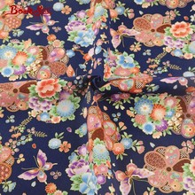 Booksew Cotton Linen Fabric Butterfly And Flower Gold Foil Dark Blue Sewing Cloth Tablecloth Bag Curtain Cushion Pillow Zakka CM