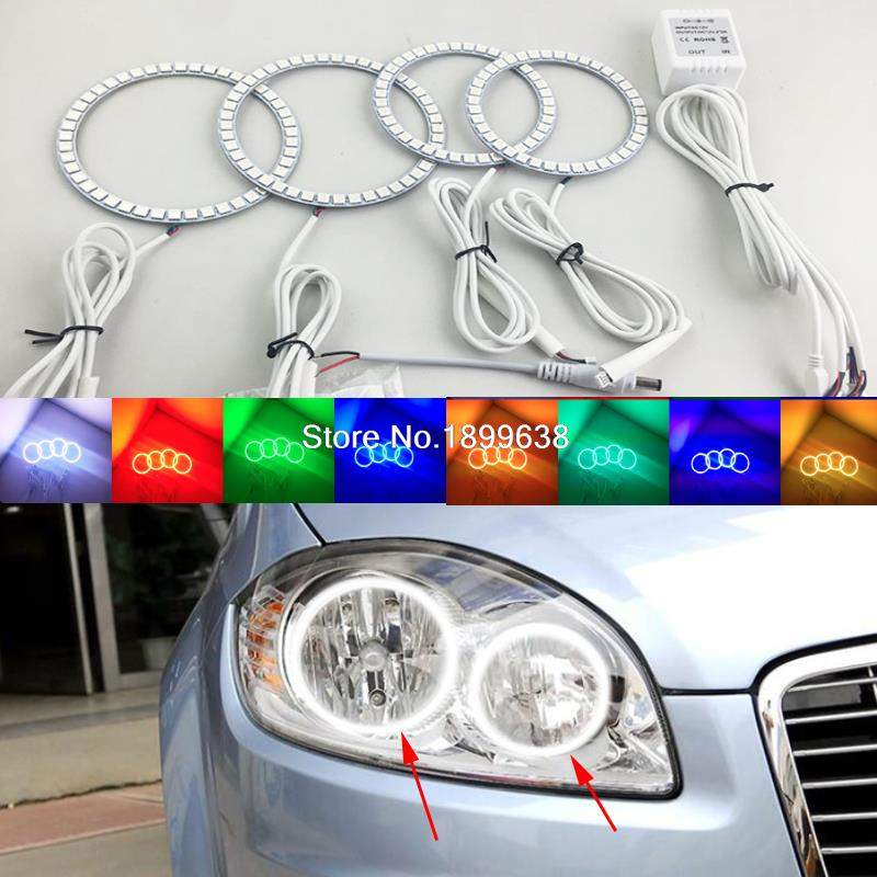 Super bright 7 color RGB LED Angel Eyes Kit with a remote control car styling  For Fiat Linea 2007  to 2015<br>