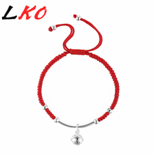 LKO S925 Sterling Silver Bell Lucky Red Rope Shambala Bracelet for man&women gift free shipping(China)