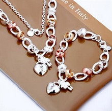Brazilian style Factory price High quality Silver Plated & Stamped 925 Charm Set Silver heart Lock Necklace Bracelet(China)