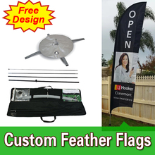 Free Design Free Shipping Single Sided Cross Base Cheap Banner Flags Advertising Long Flags Advertising Outdoor Feather Banners