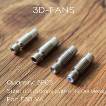 5PCS E3DV6 Heat Break Hotend Throat  For 1.75mm 3.0mm All-Metal / with PTFE, Stainless Steel Remote Feeding Tube Pipes