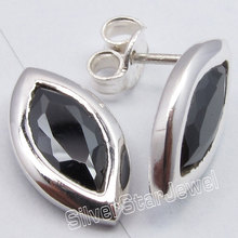 Pure Silver Facetted BLACK ONYX Cute Lightweight s Post Earrings 1.5CM1 Pair of  Earring