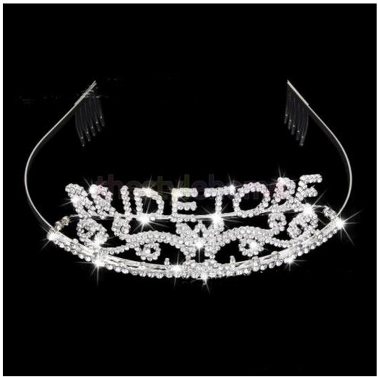 Bachelorette Crown Bride to Be Wedding Hen Event Party Bridal Shower Sparkle Tiara Silver Plated Metal Rhinestone Supplies(China (Mainland))