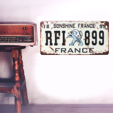 Retro European FRANCE licence plate metal iron crafts Wall stickers picture Furnishing articles painting draw bar pub house