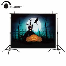 Allenjoy photography vinyl backdrop Crows castle Cross Ghosts pumpkin lantern new background photocall customize photo printed(China)