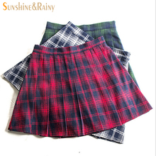 Buy autumn winter fashion female red black plaid Pleated skirts retro waist girls skirts hot skirt england style warm MINI skirts for $9.35 in AliExpress store