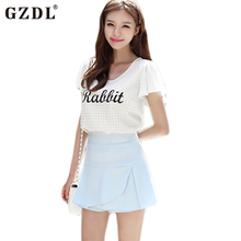 GZDL Fashion Blusas Femininas Women Flared Cap Sleeve Letter Printed Casual Loose Summer Chiffon Blouse Tops Shirt White CL1865