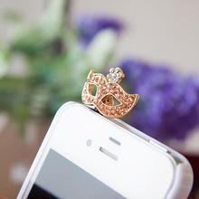 Rhinestone Mask Headphones Dust Plug Cell Phone Accessories For Iphone For Samsung And All Normal 3.5mm Earphone Jack Plug(China)