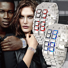 Fashion Lava Metal LED Watch Full Stainless Steel Digital Watch For Women Men Sports Watches Waterproof Male Military Watch