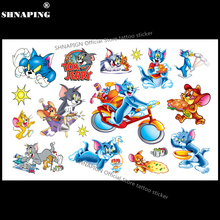 SHNAPIGN Tom Cat and Jerry Mouse Child Temporary Tattoo Body Art Flash Tattoo Stickers 17*10cm Waterproof Henna Styling Sticker(China)