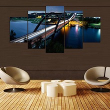 Print Painting For Living Room Home Decor 5 Panel Bridge Modular Pictures Night Landscape Poster Frame High Quality Canvas