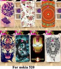 Mobile Phone Skin Cases For Nokia Lumia 520 N520 525 526 Hard Plastic Back Housing Cover Skin Cat Tiger Case For Nokia Lumia 520