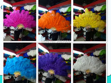 EMS free shipping! Dafa Dance Ostrich feather fan Halloween Christmas party required 12 Bone belly dancing feather fan show DIY(China)