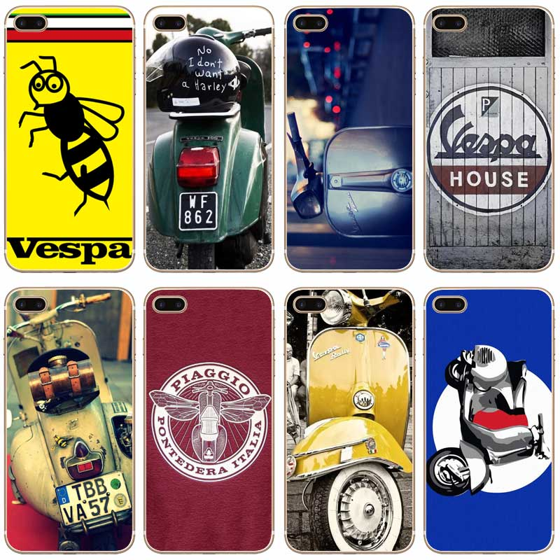H345 Vespa Scooter Transparent Hard Thin Case Cover For Apple iPhone 4 4S 5 5S SE 5C 6 6S 7 Plus(China (Mainland))