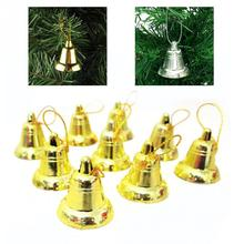 9pcs/set Happy Christmas Party Golden/Silver Plastic Bell Decorative Xmas Tree Hanging Oranments Opening Bell Trumpet Bells