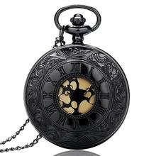 Classical Black Hollow Roman Number Case Design Gold Dial Quartz Fob Pocket Watches with Necklace Chain for Men Women Gift(China)