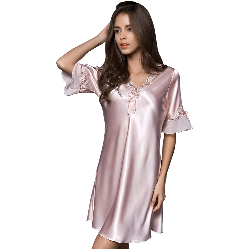 Ladies Sexy Lace Silk Nightclothes V-Neck Short Sleeve Home Clothes for Women Elegant Dresses of The Large Size Thin Party Dress