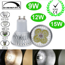 10PCS High power CREE GU10 E27 E14 MR16 B22 9W 12w 15w Dimmable Light lamp Bulb GU 10 LED Downlight Led Bulb Free shipping