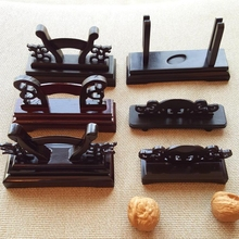 Chinese Fan Base High Mahogany Fan Frame Ebony Fan Seat