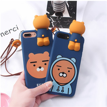 3D Korea cartoon Super Cute Ryan soft silicon For iPhone 7 case 6 6S 7Plus  Super Ryan Case with Lanyard Strap Mr orange Coque