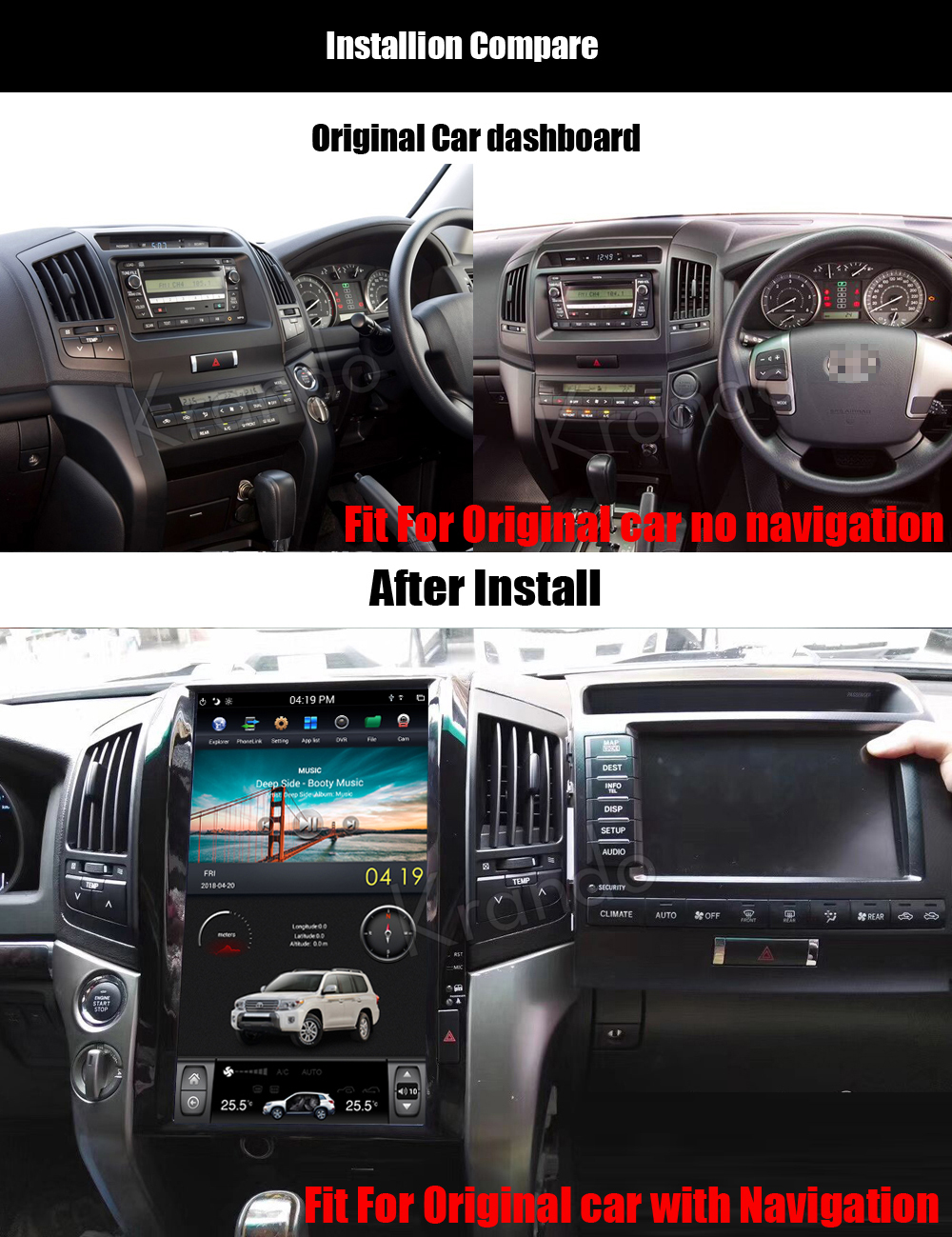 Krando android car radio stereo navigation gps for toyota land cruiser 200 2008-2015 car dvd player multimedia system