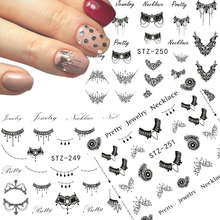 1 Sheets Nail Sticker Fashionable Jewelry Designs Water Transfer DIY Black Necklace/Ring Decals Nail Art TRSTZ249/250(China)
