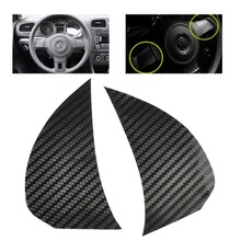 Free shipping # 2PCS Carbon fiber Steering Wheel Cover Trim Cover sticker for Volkswagen VW Golf MK6 Golf6 2009 - 2011 Polo Bora