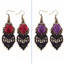 Lady Retro Handmade Gothic Red / Purple Flower Rose Black Drop Lace Dangle Earrings Lolita Alloy Hook Ball Party Fashion Jewelry