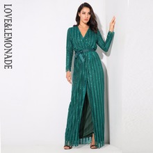 Love&Lemonade Sexy Stripes Cross V Collar Body Maxi Dresses Green/Silver/Gold/Black/Red LM0266(China)