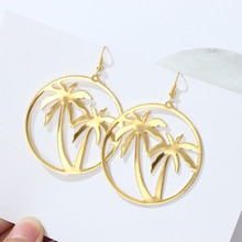 Fashion Women Metal Zinc Alloy Coconut Palm Tree Big Round Circle Drop Earrings High-polished Summer Holiday Earrings Simple